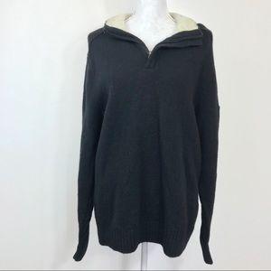 Columbia Sweater Black Knit Zip Sherpa Collar L